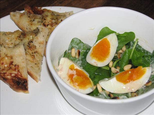 Babyspinach, Egg and Pinenuts Salad