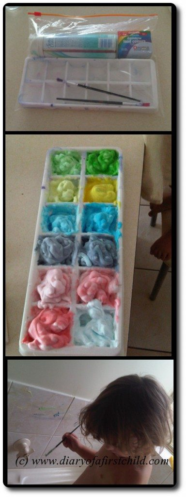 Busy Bag For Bath Time: Shaving Foam Painting