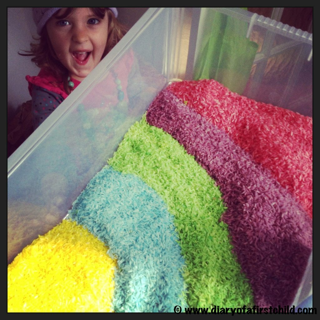 Rainbow Rice For Sensory Boxes