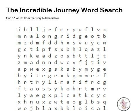 The Incredible Journey Word Search