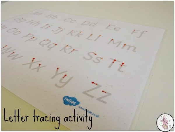 letter tracing activity